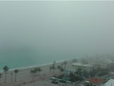 February 2014, Florida, Hollywood Beach with fog