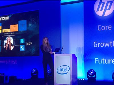Marika Dziuba takes to the stage in London at the HP Partner First event evangelising Intel Authenticate and Intel Security.