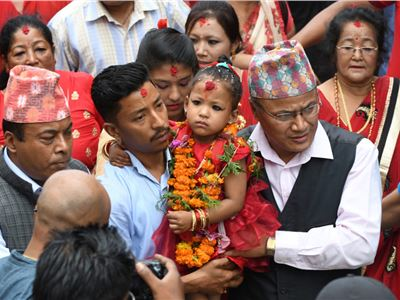"Nepal: Trishna Shakya, three  year old girl,  new ""Kumari"" of Kathmandu"