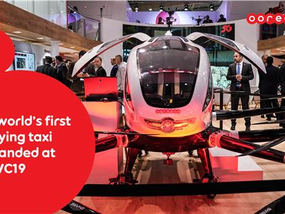 Ooredoo autonomous Aerial Taxi reacts in real time to its environment, and it has just landed at the MWC19