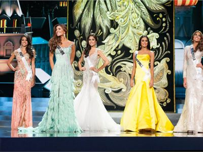 The five finalists at the Miss Universe 2013