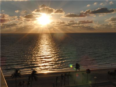The sunrise on Hollywood Beach, Florida