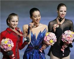 Three beautiful female athletes on the podium at the World Championships  in Japan.
