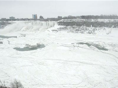 Water still cascades over nearly frozen Niagara Falls